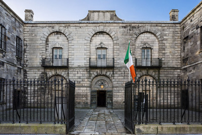 Kilmainham Gaol: Façade of Kilmainham Gaol with tricolour
