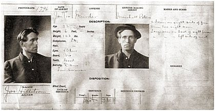 Joe Hills polis-arkivkort