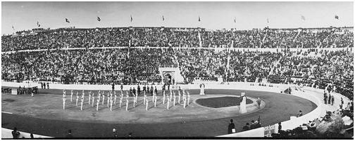 Jeux intercalés Athènes 1906, Gymnastique artistique, compétition par équipe Hommes - Exercice d'ensemble de l'équipe de la Suède (SWE).